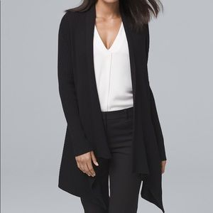 WHBM Black Ribbed Open Front Cardigan